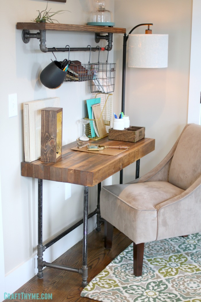 Best ideas about Wood Desk DIY . Save or Pin Building a Custom Industrial Wooden Desk • Craft Thyme Now.