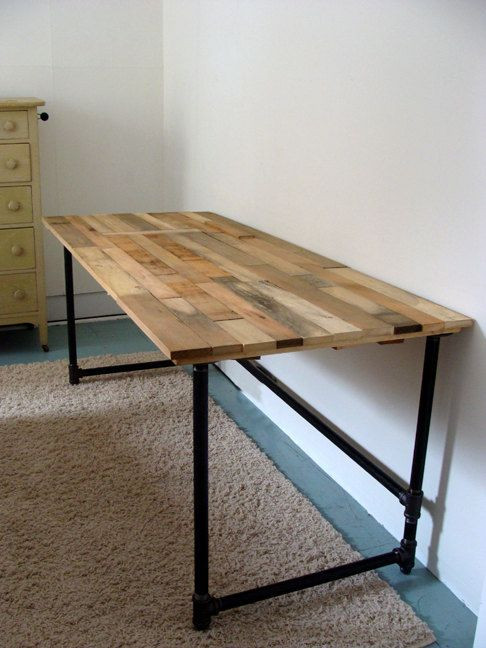 Best ideas about Wood Desk DIY . Save or Pin Salvaged Wood and Pipe Desk by riotousdesign on Etsy $650 Now.