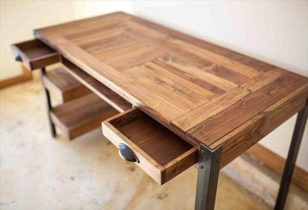 Best ideas about Wood Desk DIY . Save or Pin Pallet Desk with Drawers and shelves Now.