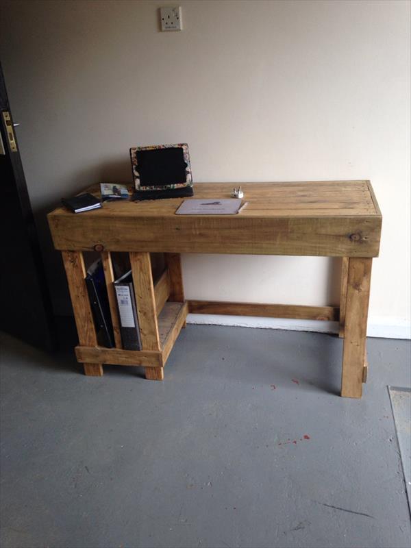 Best ideas about Wood Desk DIY . Save or Pin DIY Wood Pallet fice puter Desk Now.