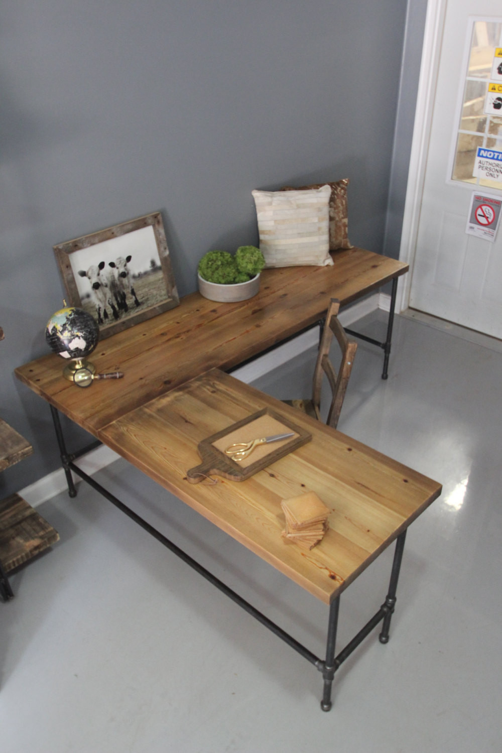 Best ideas about Wood Desk DIY . Save or Pin L Shaped Desk Wood Desk Pipe Desk Reclaimed Wood by DendroCo Now.