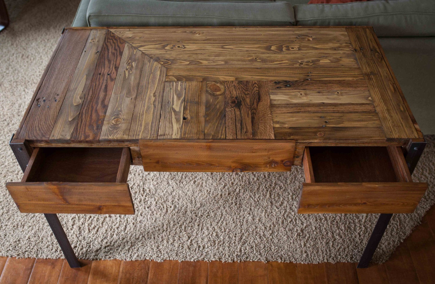 Best ideas about Wood Desk DIY . Save or Pin Pallet Wood Desk with Metal Legs and Two Drawers Now.