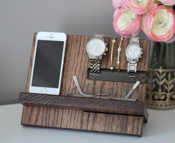 Best ideas about Wooden Gift Ideas . Save or Pin Oak Wood Valet iPhone Galaxy Charging Stand Nightstand Now.