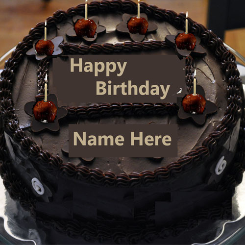 Best ideas about Write Name On Birthday Cake . Save or Pin Write Name Chocolate Happy Birthday Cake With Candle Now.