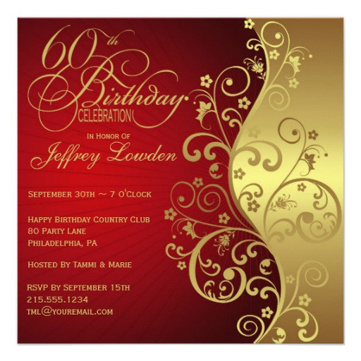 """Best ideas about Zazzle Birthday Invitations . Save or Pin Red & Gold 60th Birthday Party Invitation 5 25"""" Square Now."""
