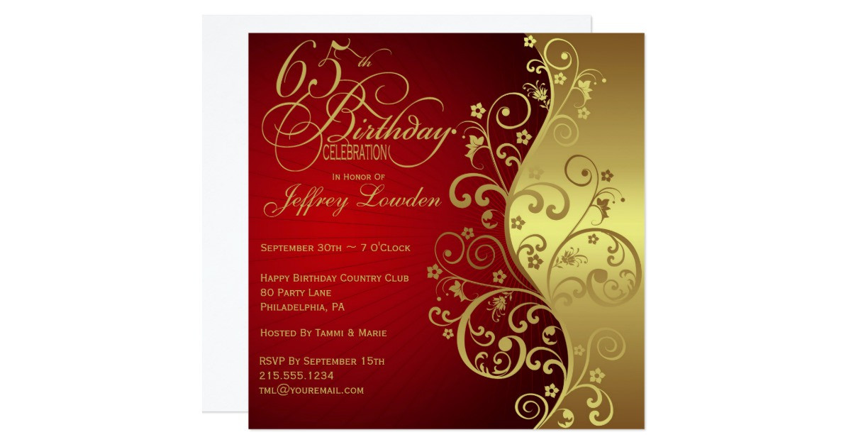 Best ideas about Zazzle Birthday Invitations . Save or Pin Red & Gold 65th Birthday Party Invitation Now.