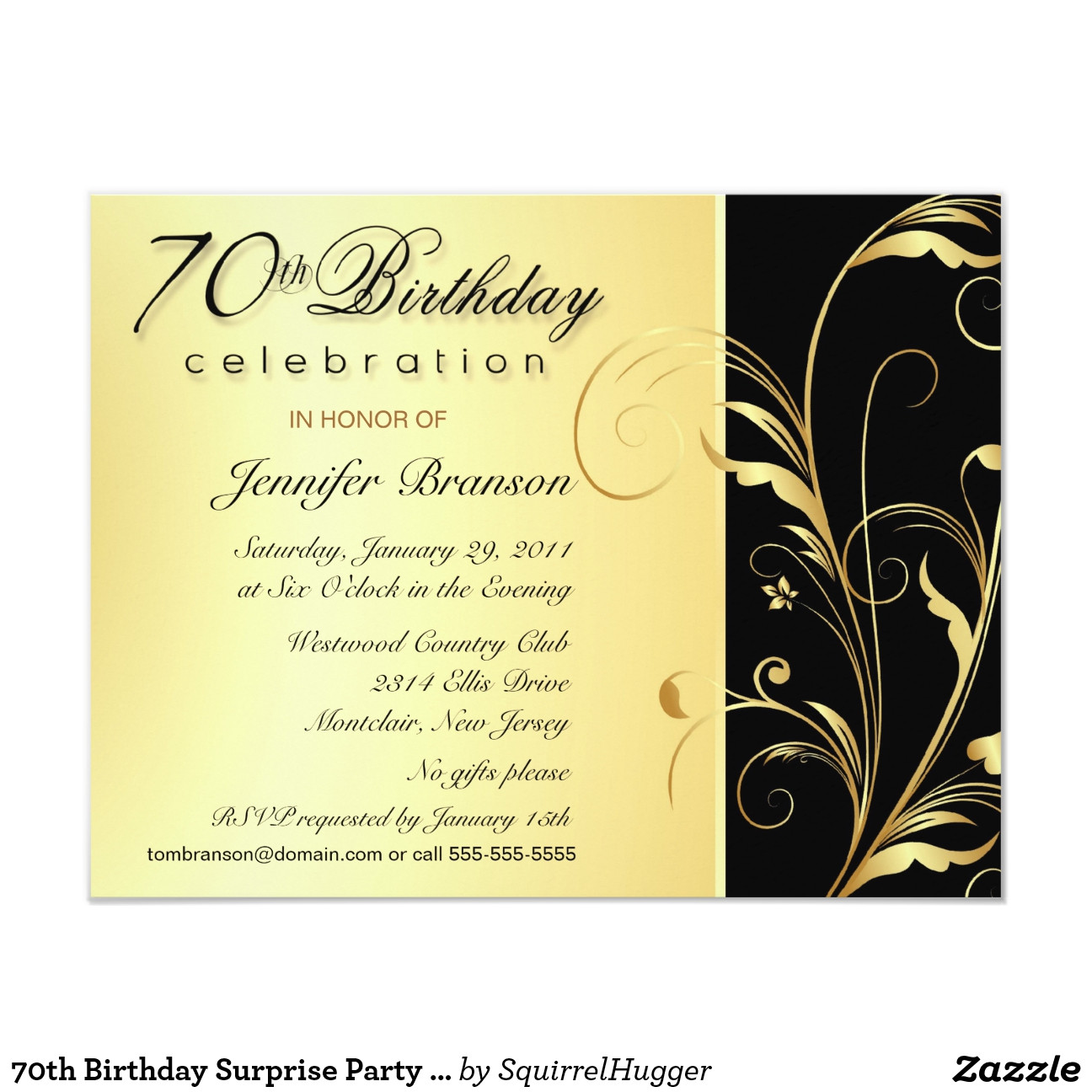 Best ideas about Zazzle Birthday Invitations . Save or Pin 70th birthday surprise party invitations Now.