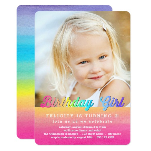 Best ideas about Zazzle Birthday Invitations . Save or Pin Watercolor Rainbow Birthday Party Invitation Now.