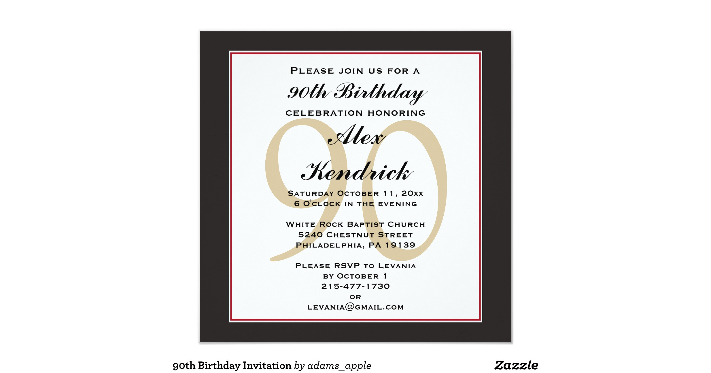 Best ideas about Zazzle Birthday Invitations . Save or Pin 90th birthday invitation r0a9501d1f0d bb5c9e868cde46b4 Now.