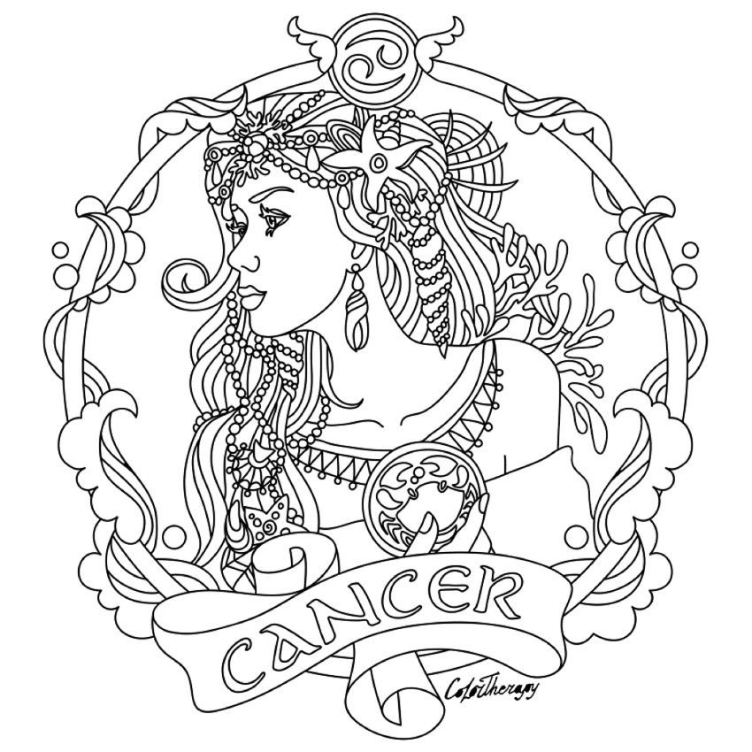 Best ideas about Zodiac Coloring Pages For Adults . Save or Pin Cancer Zodiac beauty colouring page Luv to Color Now.