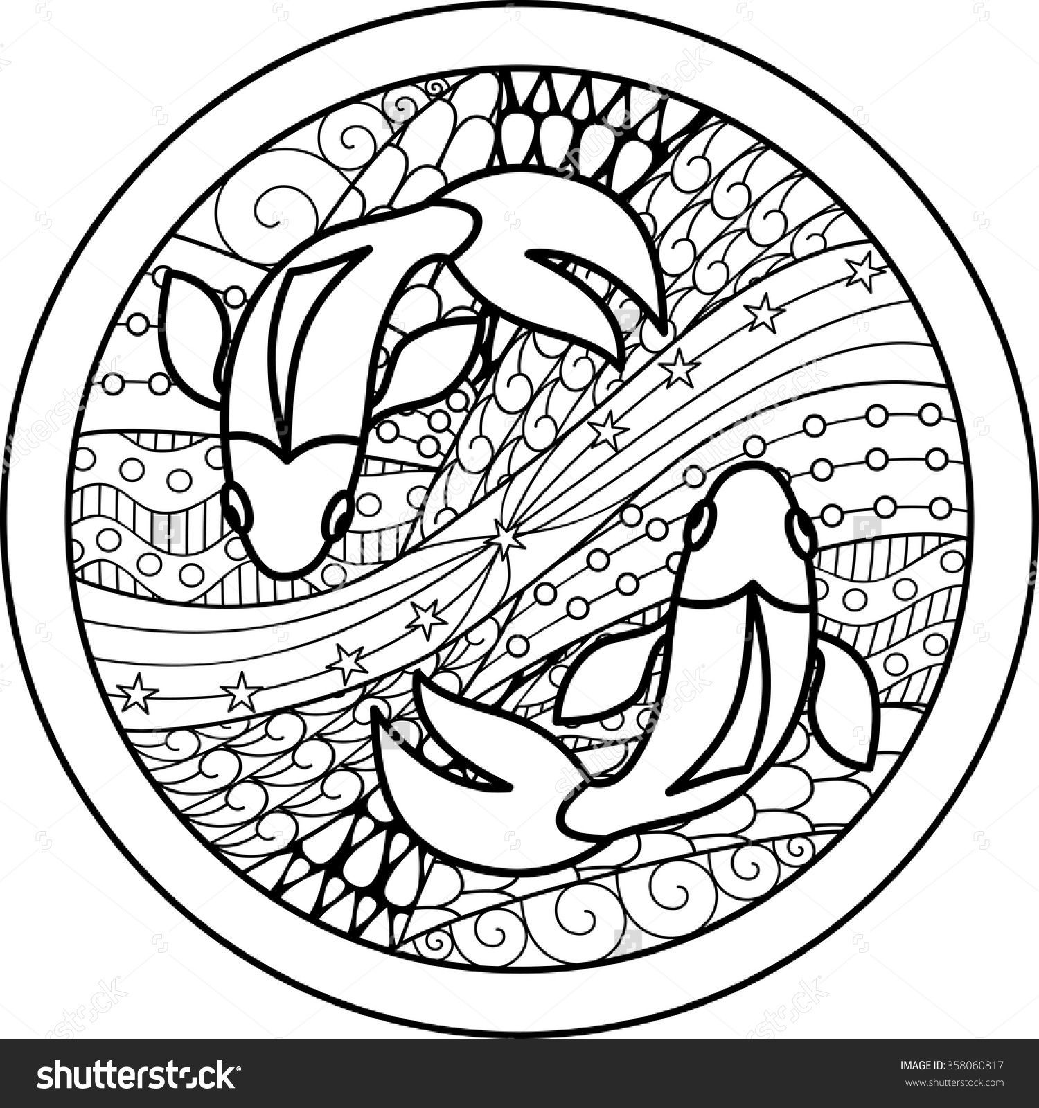 Best ideas about Zodiac Coloring Pages For Adults . Save or Pin Zodiac sign Pisces zentangle Now.