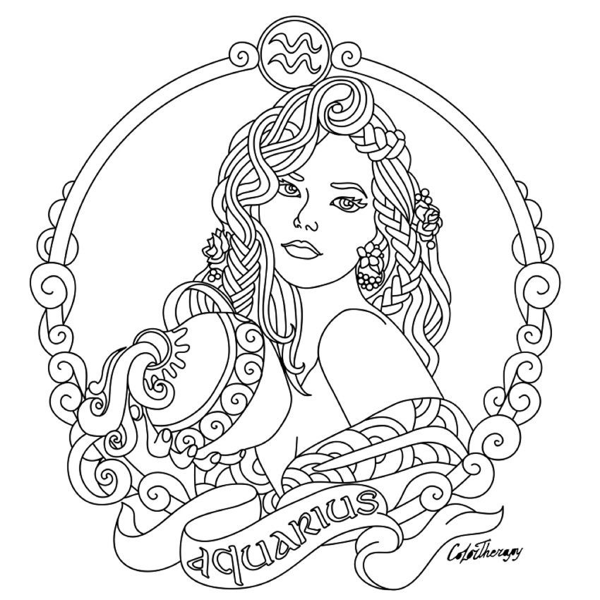 Best ideas about Zodiac Coloring Pages For Adults . Save or Pin Aquarius Zodiac beauty colouring page Now.