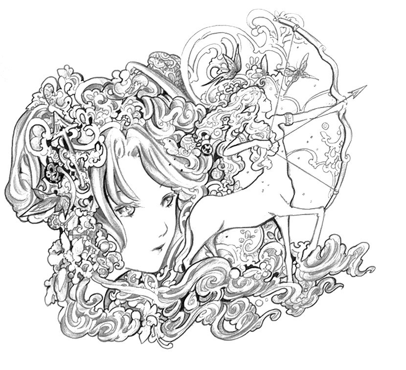 Best ideas about Zodiac Coloring Pages For Adults . Save or Pin Art Therapy coloring page astrology Sagittarius 4 Now.