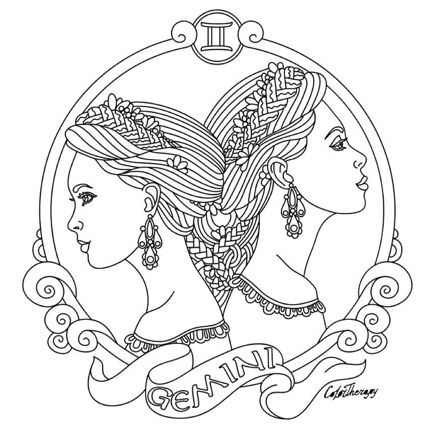 Best ideas about Zodiac Coloring Pages For Adults . Save or Pin Gemini Zodiac beauty colouring page Now.