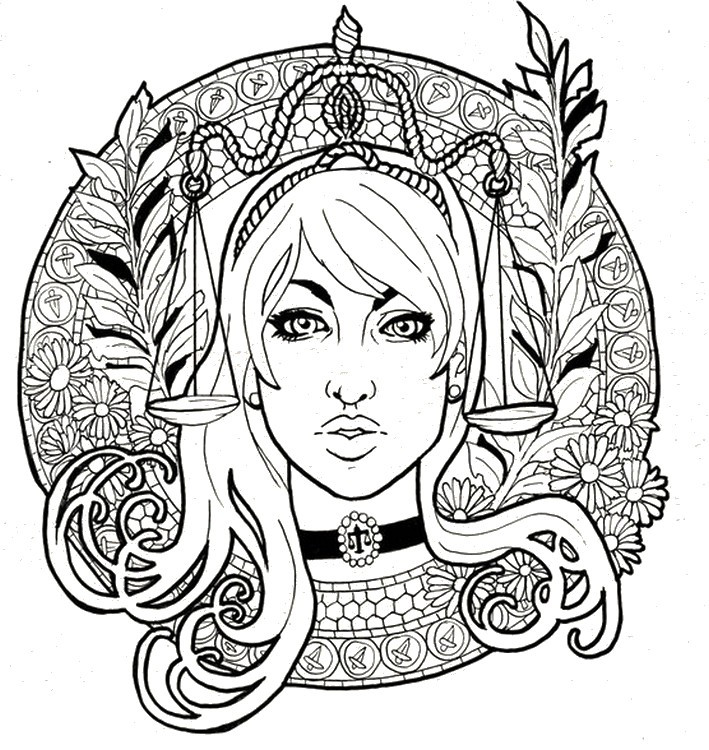 Best ideas about Zodiac Coloring Pages For Adults . Save or Pin Art Therapy coloring page Astrology Libra 8 Now.