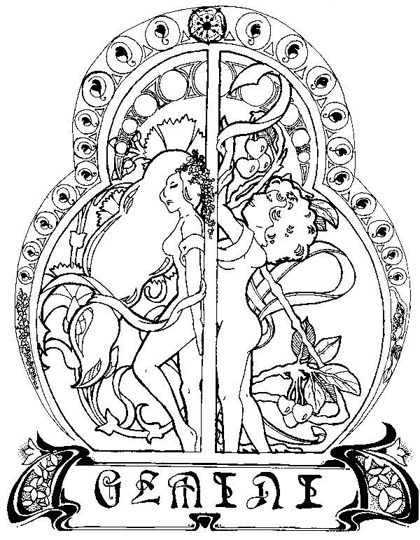 Best ideas about Zodiac Coloring Pages For Adults . Save or Pin Gemini zodiac adult colouring Now.