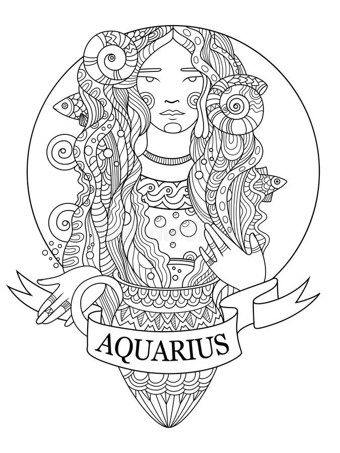 Best ideas about Zodiac Coloring Pages For Adults . Save or Pin Aquarius Zodiac Sign Coloring Book Vector Stock Vector Now.