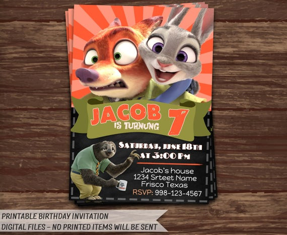 Best ideas about Zootopia Birthday Invitations . Save or Pin Zootopia Invitation Zootopia Birthday by HolidayPrintDesign Now.