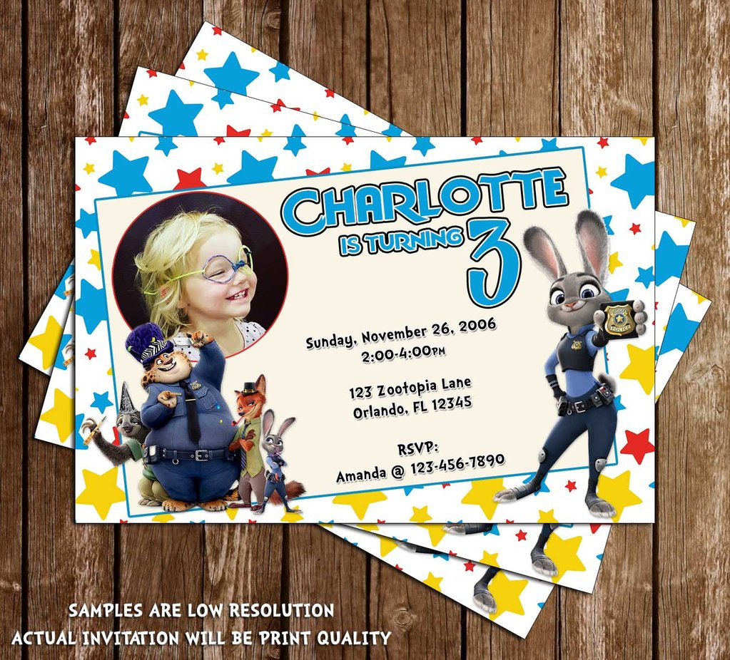 Best ideas about Zootopia Birthday Invitations . Save or Pin Novel Concept Designs Zootopia Movie Birthday Party Now.