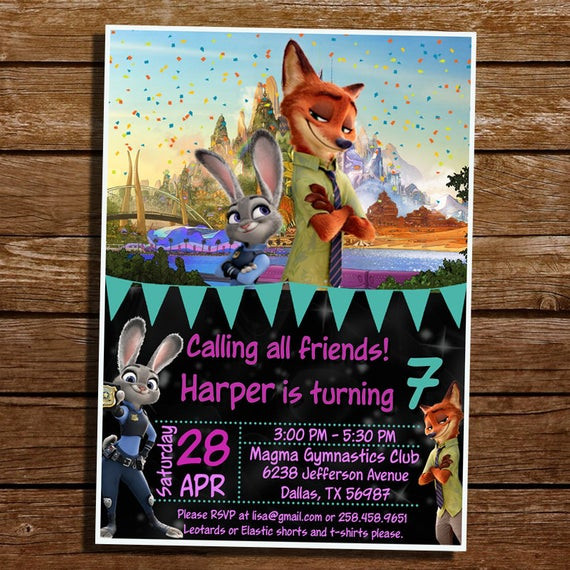 Best ideas about Zootopia Birthday Invitations . Save or Pin Zootopia Birthday Invitation Zootopia Digital by Now.