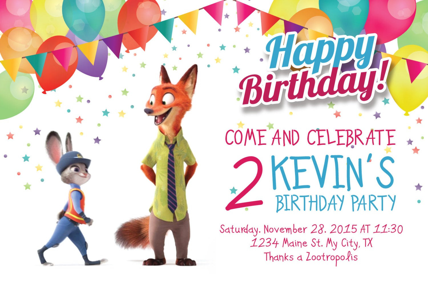 Best ideas about Zootopia Birthday Invitations . Save or Pin Zootopia Invitation Zootropolis birthday party personalized Now.