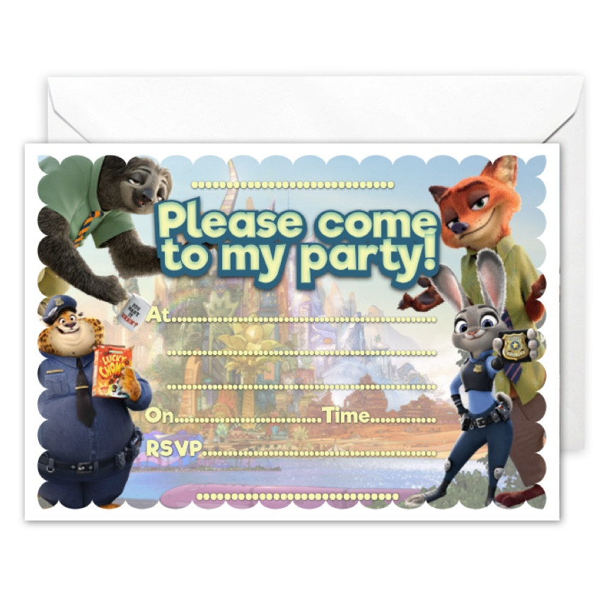 Best ideas about Zootopia Birthday Invitations . Save or Pin 20 x Zootopia Party Invitations All Ways Design Now.
