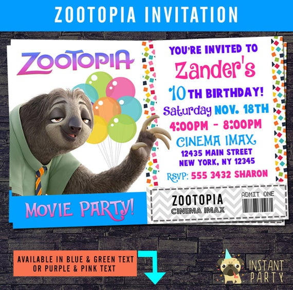 Best ideas about Zootopia Birthday Invitations . Save or Pin Items similar to ZOOTOPIA Movie Ticket Birthday Invitation Now.
