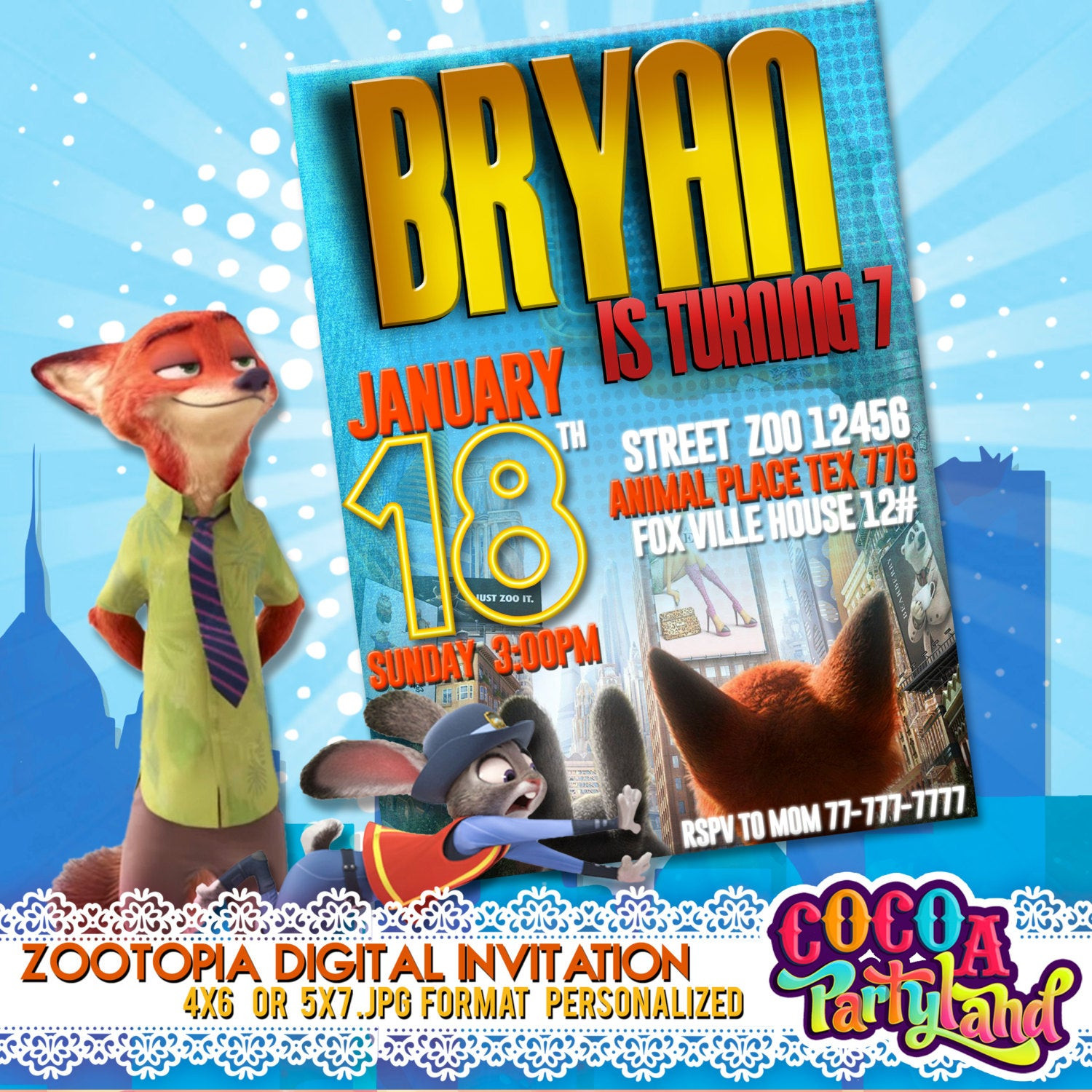 Best ideas about Zootopia Birthday Invitations . Save or Pin Zootopia Digital Invitation Zootopia by CocoaParty on Etsy Now.