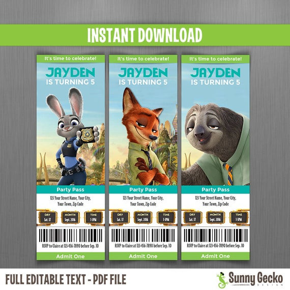 Best ideas about Zootopia Birthday Invitations . Save or Pin Zootopia Birthday Ticket Invitations Instant Download and Now.