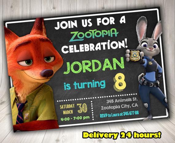Best ideas about Zootopia Birthday Invitations . Save or Pin Items similar to ZOOTOPIA Invitation Zootopia Birthday Now.